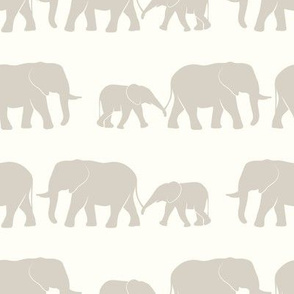 elephants march - beige & cream
