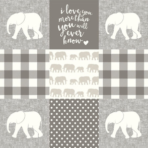 Elephant wholecloth - I love you more than you will ever know - patchwork - plaid -  beige & cream