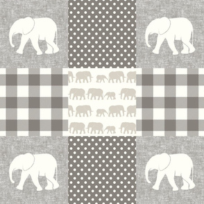 elephant wholecloth - plaid and polka dots - cream & beige