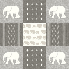 Elephant wholecloth - cross my heart - beige and cream