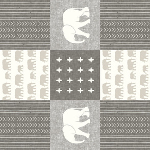 Elephant wholecloth - cross my heart - beige and cream (90)