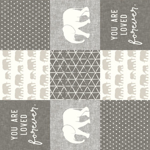 Elephant wholecloth - You are loved forever.  - cream and beige (90)