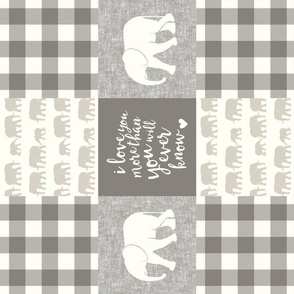 Elephant wholecloth - I love you more than you will ever know - patchwork - plaid -  beige & cream (90)
