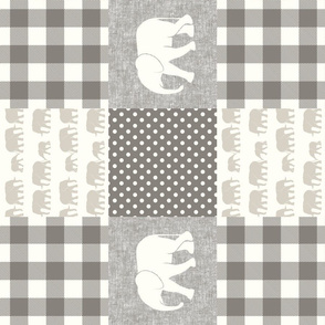 elephant wholecloth - plaid and polka dots - cream & beige (90)