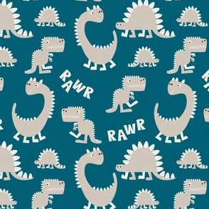 Dinosaurs on petrol blue
