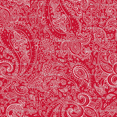 Paisley White on Red