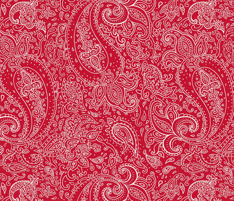 Paisley White on Red fabric by fabric_is_my_name on Spoonflower - custom fabric