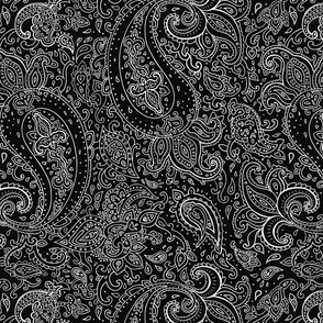 Paisley White on Black