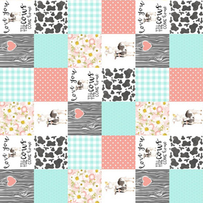 3 inch Farm//Love you till the cows come home//Mint&Coral - Wholecloth Cheater Quilt - Rotated