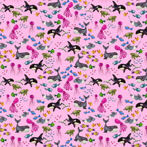 Ocean Pals - Teeny Tiny Scale on Pink fabric by taraput on Spoonflower - custom fabric