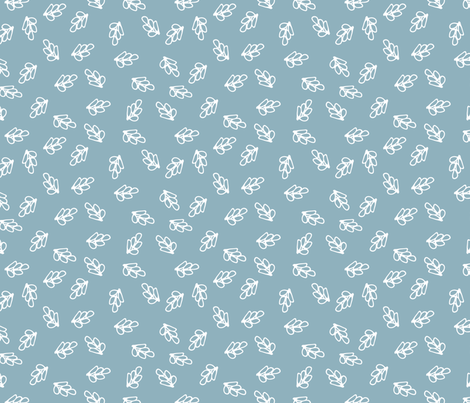 Rabbit Round Leaf White on Blue fabric by gingercreations on Spoonflower - custom fabric