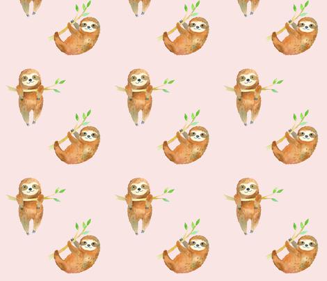 Baby Sloths // Blush fabric by hipkiddesigns on Spoonflower - custom fabric