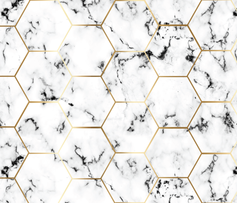 MARBLE black GOLD HEXAGON hex tile black marble  fabric by jenlats on Spoonflower - custom fabric