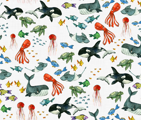 Ocean Pals - Medium Scale on Light Linen fabric by taraput on Spoonflower - custom fabric