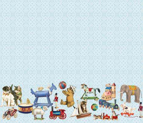 Playmates Blue Border 5 3 4 Toys Fabric Carolyn Grossman
