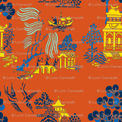 chinoiserie villages 2 gold,blue on red