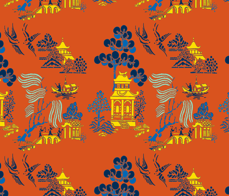 chinoiserie villages 2 gold,blue on red fabric by lorloves_design on Spoonflower - custom fabric