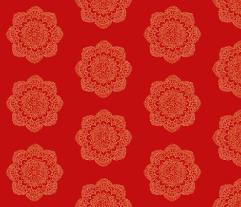 gold medallion on regal red-01 fabric by jenlats on Spoonflower - custom fabric