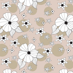 Brown and Beige Background with White Hibiscus Flowers