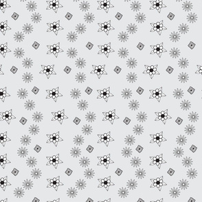 Gray wiht black and white flowers asters and diamonds