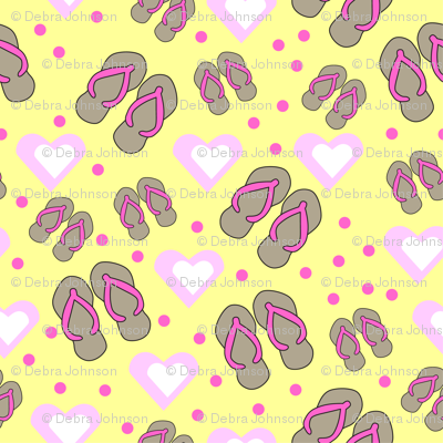Flip flops pink hearts and polka dots