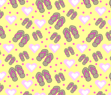 Flip flops pink hearts and polka dots fabric by debbiejohnsonartist on Spoonflower - custom fabric