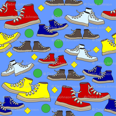 High Top Tennis Shoes in Red Yellow Blue and Brown