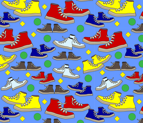 High Top Tennis Shoes in Red Yellow Blue and Brown fabric by debbiejohnsonartist on Spoonflower - custom fabric