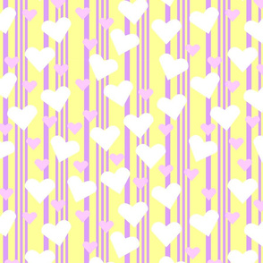 Pink and yellow stripes with hearts