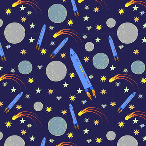 Navy Blue Sky with Space Ships Planets Stars and Comets