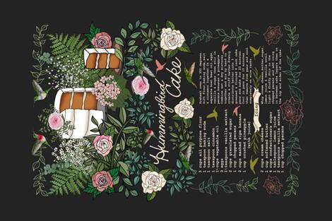 Hummingbird Cake Recipe Tea Towel fabric by irishvikingdesigns on Spoonflower - custom fabric