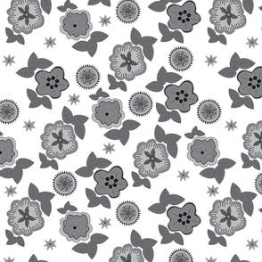 Black White and Gray Fun Florals