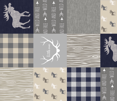 Moose Little One Quilt - Navy, grey and tan - rotated fabric by sugarpinedesign on Spoonflower - custom fabric