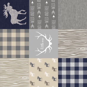 Moose Little One Quilt - Navy, grey and tan - rotated