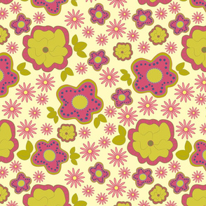 Fun Pink and Green Floral on Yellow Background