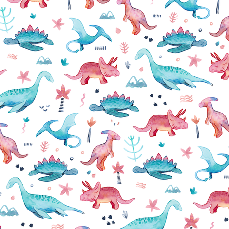 Roarsome Dino's - Small fabric by gingerlique on Spoonflower - custom fabric
