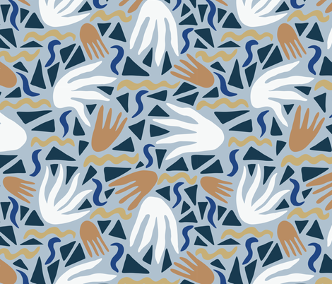 Natural Art_Blue Gray fabric by courtney_beyer_design on Spoonflower - custom fabric