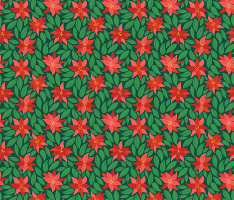 Poinsettias_dark green fabric by courtney_beyer_design on Spoonflower - custom fabric
