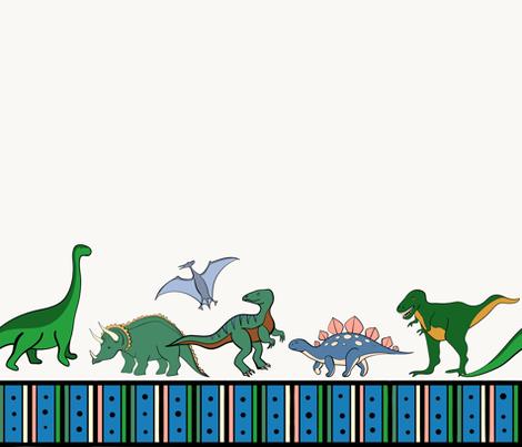 Dinosaurs Border fabric by sarahjwhyte on Spoonflower - custom fabric
