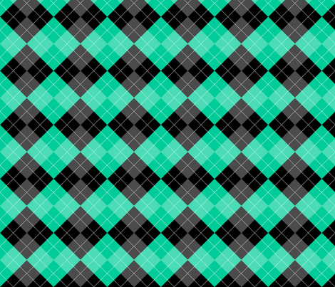 Argyle Caribbean Green Diamond Pattern fabric by karwilbedesigns on Spoonflower - custom fabric