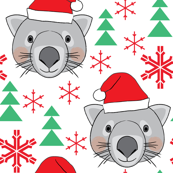 christmas wombats snowflakes and trees
