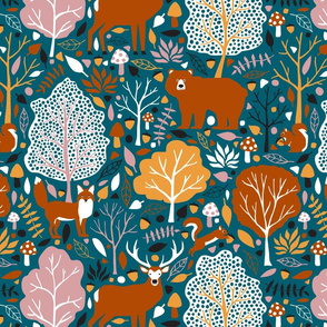 autumn animals in the forest