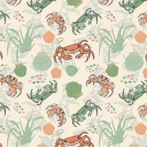 Summer Crabs and Seashells - Cream