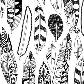 joyful feathers black white
