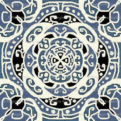 Ecco squared tile, small, blue