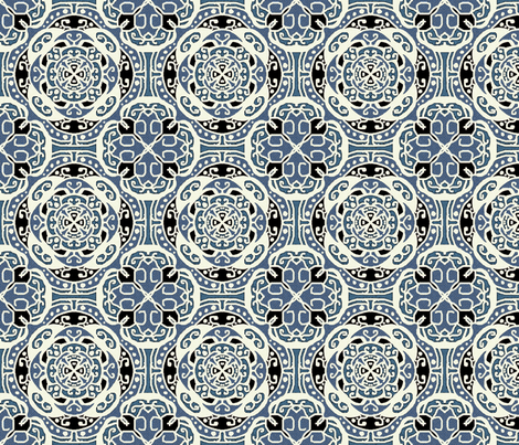 Ecco squared tile, small, blue fabric by palifino on Spoonflower - custom fabric