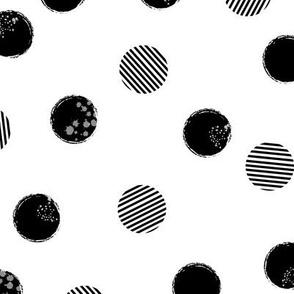 grunge polkadots - black on white