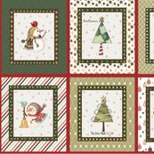 Christmas snowman fabric, small panels