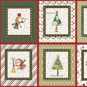 Christmas snowman fabric, medium panels