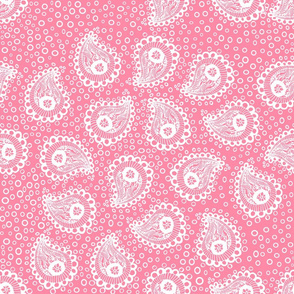 White Paisleys Bubbles on Pink